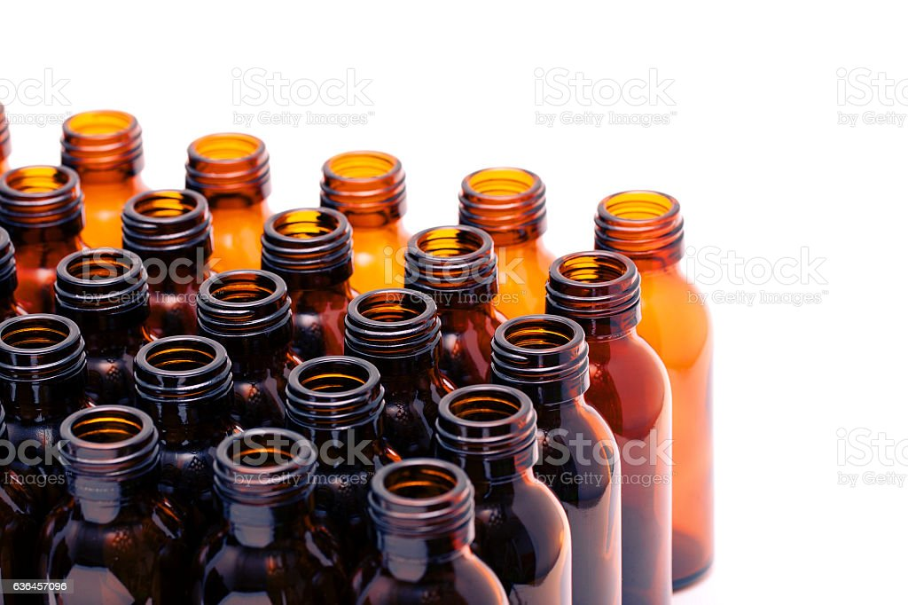 Empty medicine Bottles isolated on white background stock photo