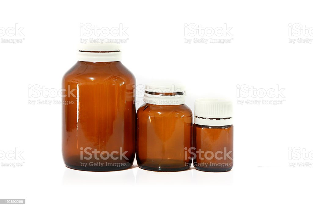 Empty medicine bottles stock photo