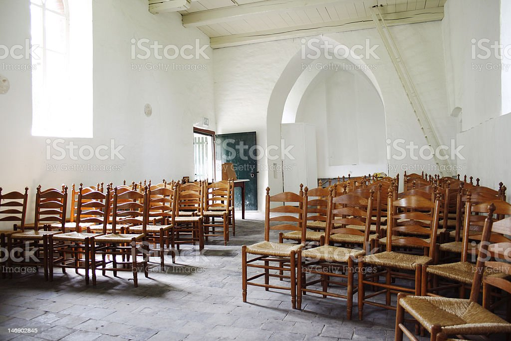 Empty medieval church royalty-free stock photo