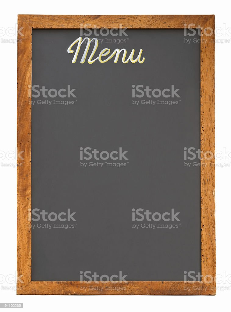 Empty menu board cutout royalty-free stock photo