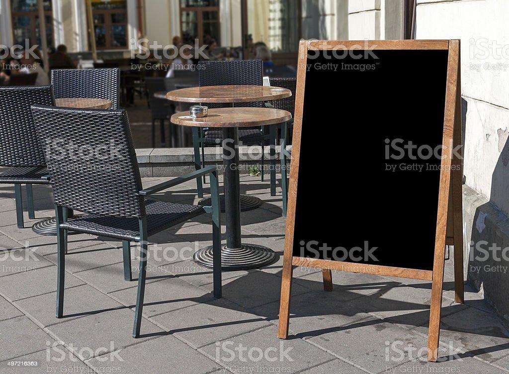 Empty menu board stock photo