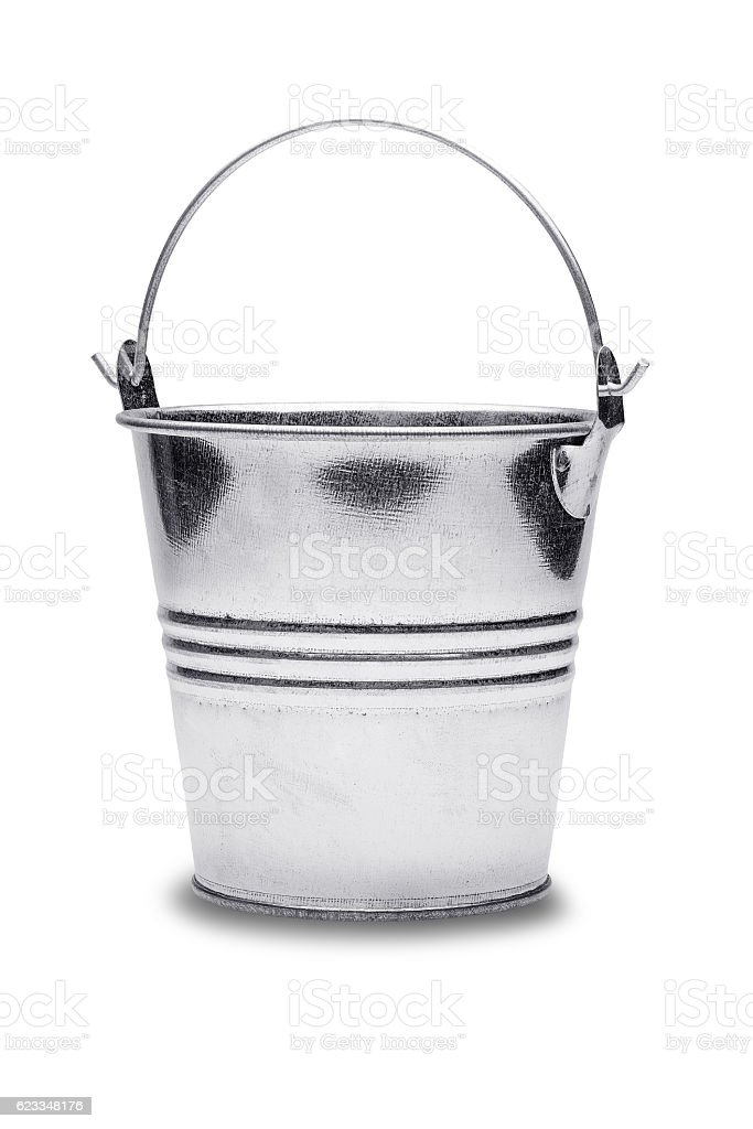 Empty metal bucket on a isolated white background stock photo