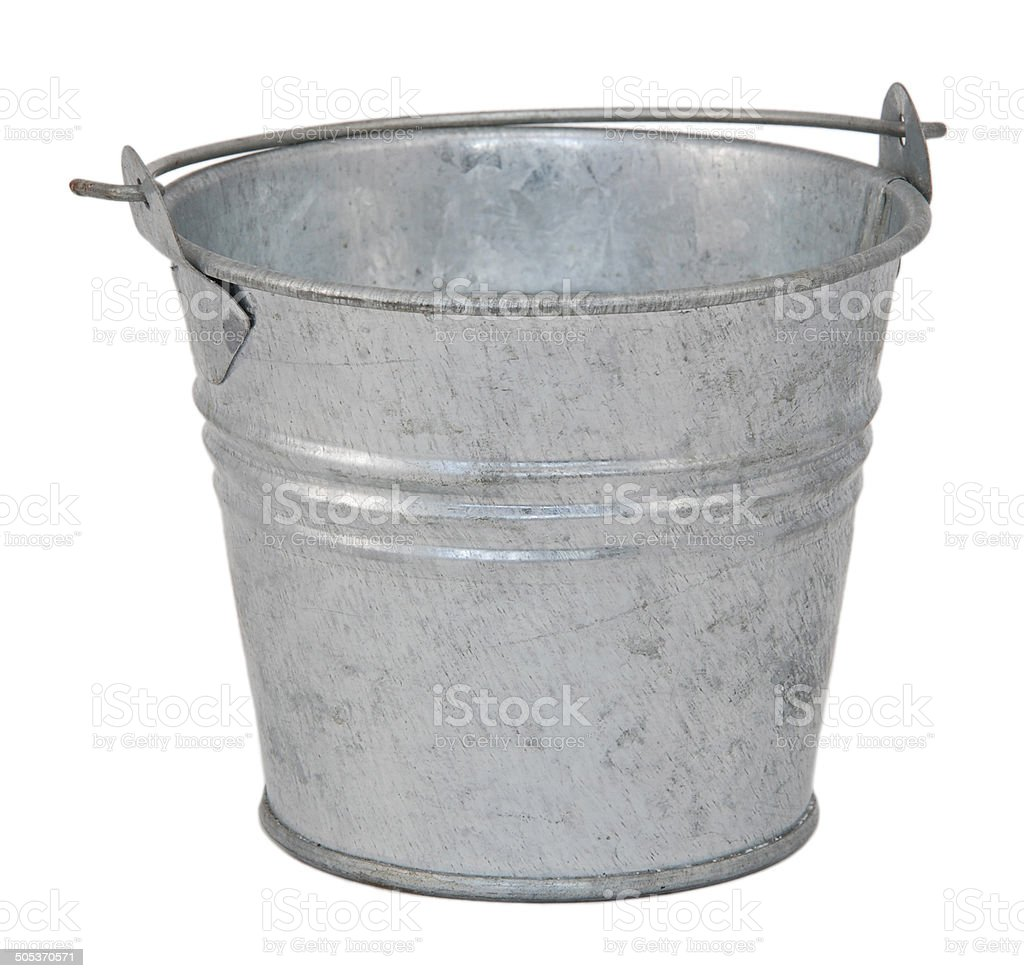 Empty metal bucket stock photo