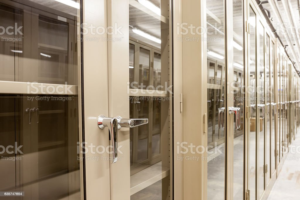 Empty metal cabinets stock photo
