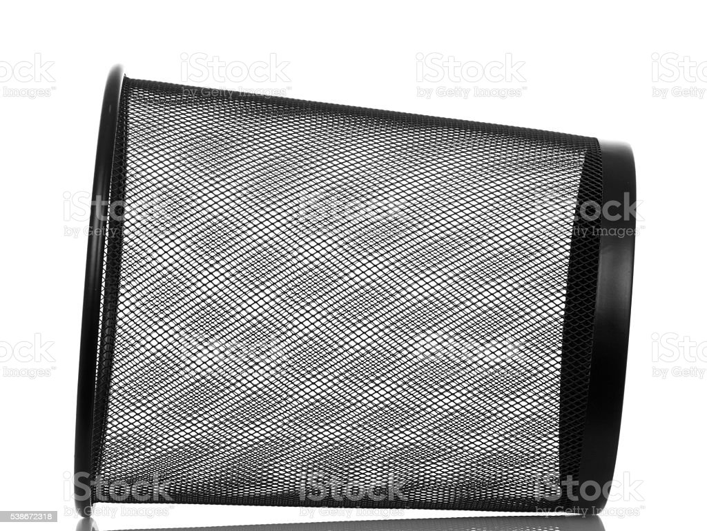Empty metal dustbin is isolated on white background. stock photo