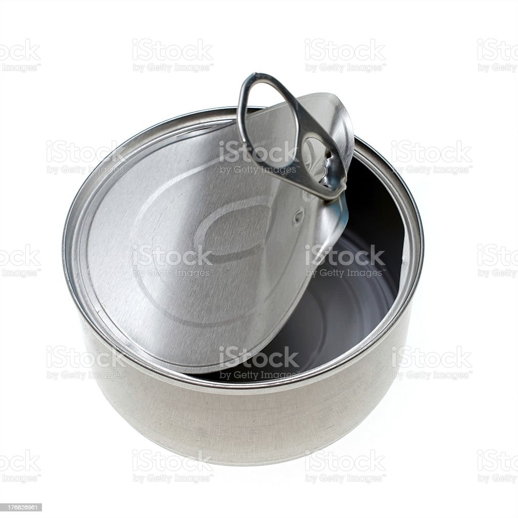 empty metal  food can isolated on white royalty-free stock photo