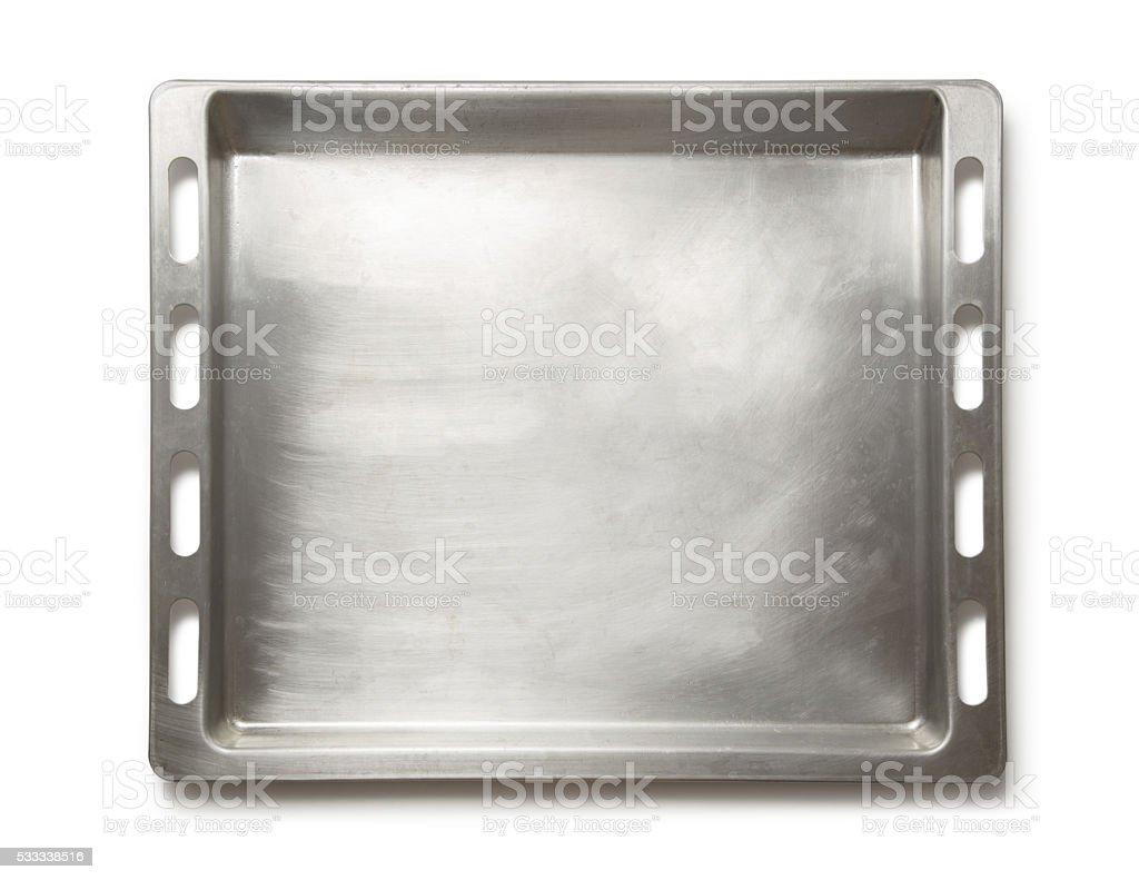 Empty metal oven tray stock photo