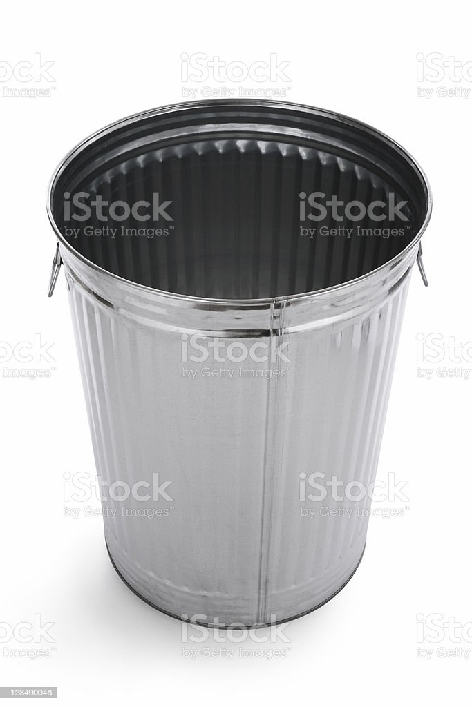 empty metal trash can stock photo