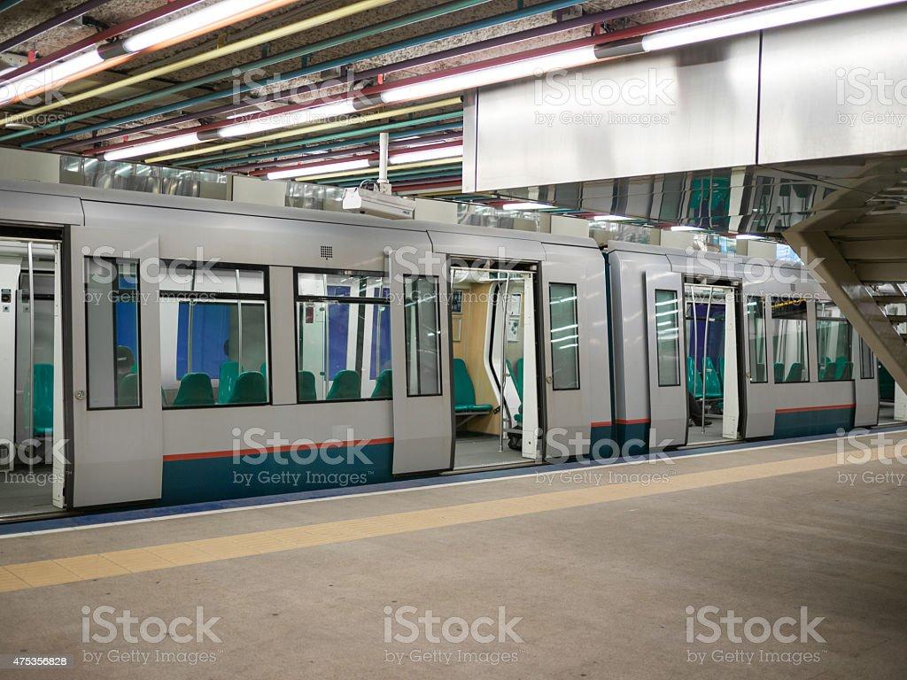 empty Metro wagon  central station Rotterdam stock photo