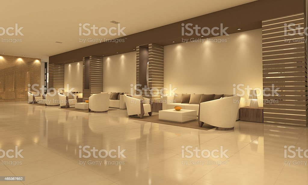 Empty modern hotel lobby with sitting area stock photo