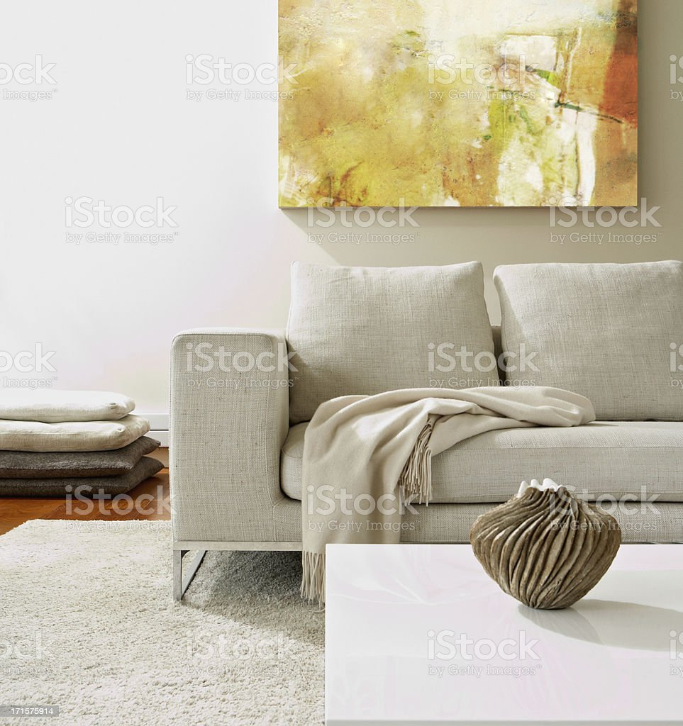 Empty modern living room stock photo