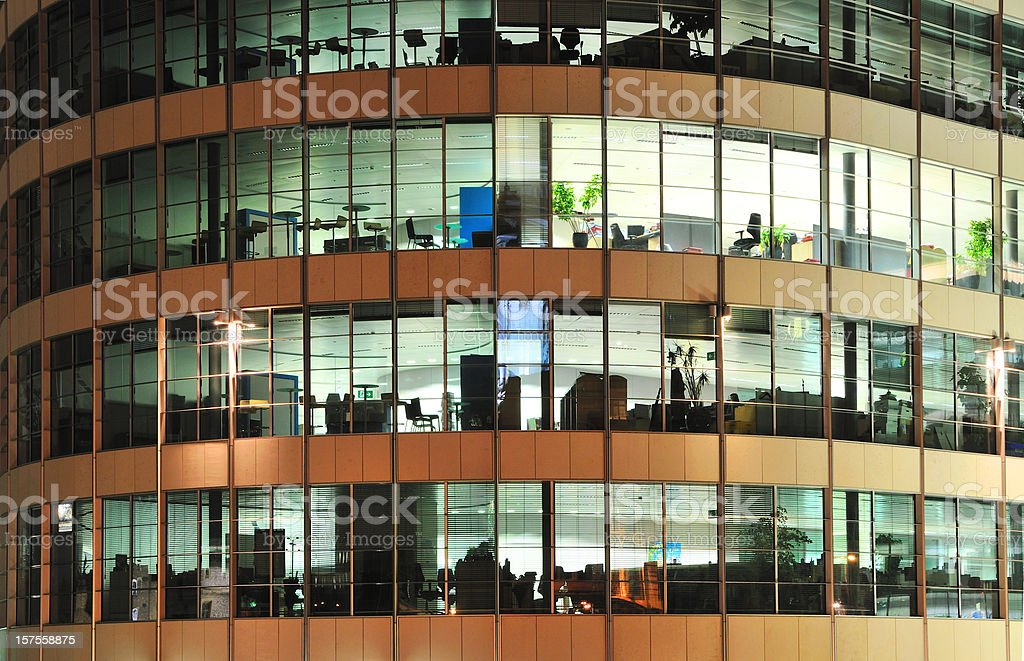 Empty modern office by night royalty-free stock photo