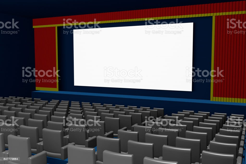 empty movie theater blank screen side view stock photo