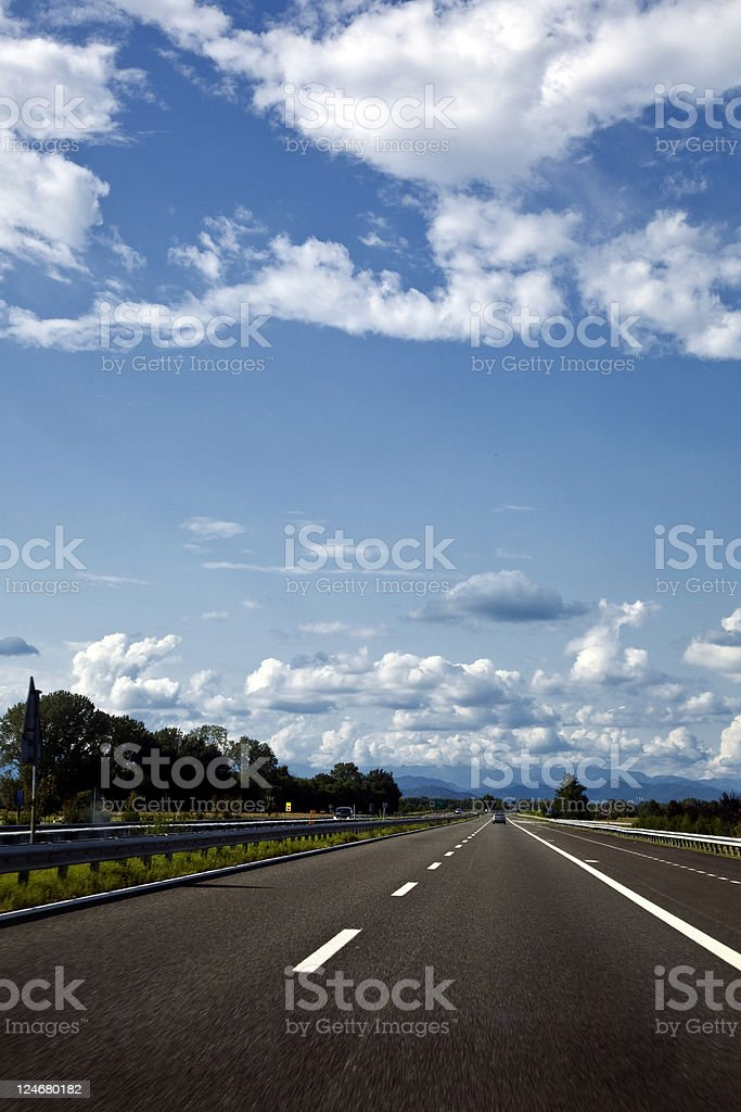 Empty Multiple Lane Highway. Color Image royalty-free stock photo