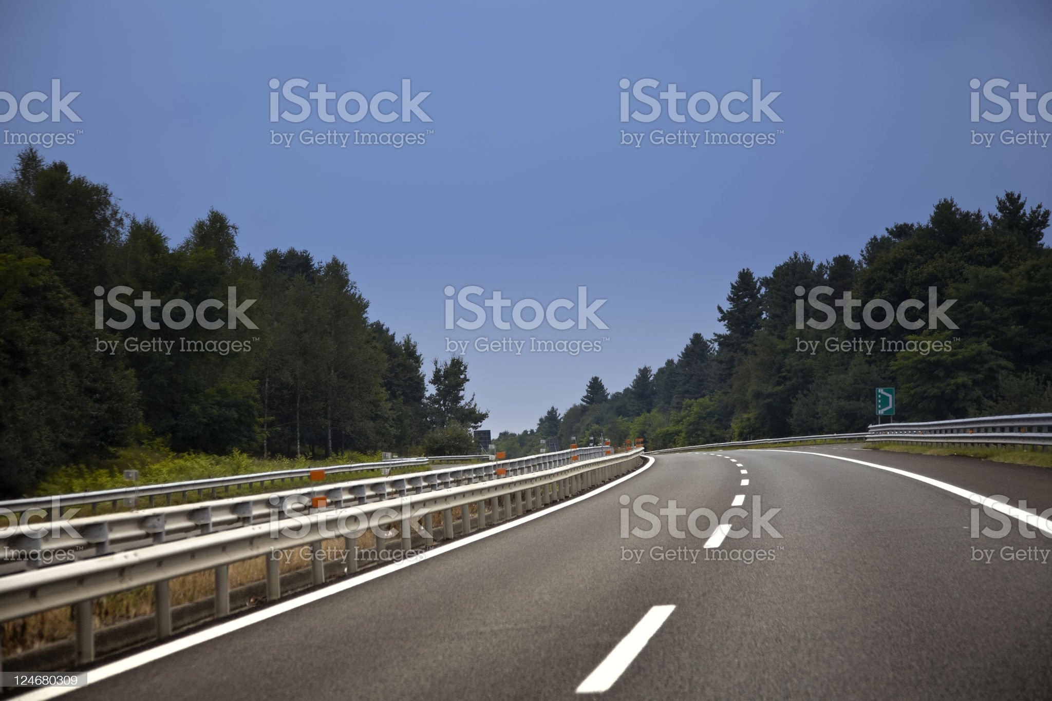 Empty Multiple Lane Highway with Curve. Color Image royalty-free stock photo