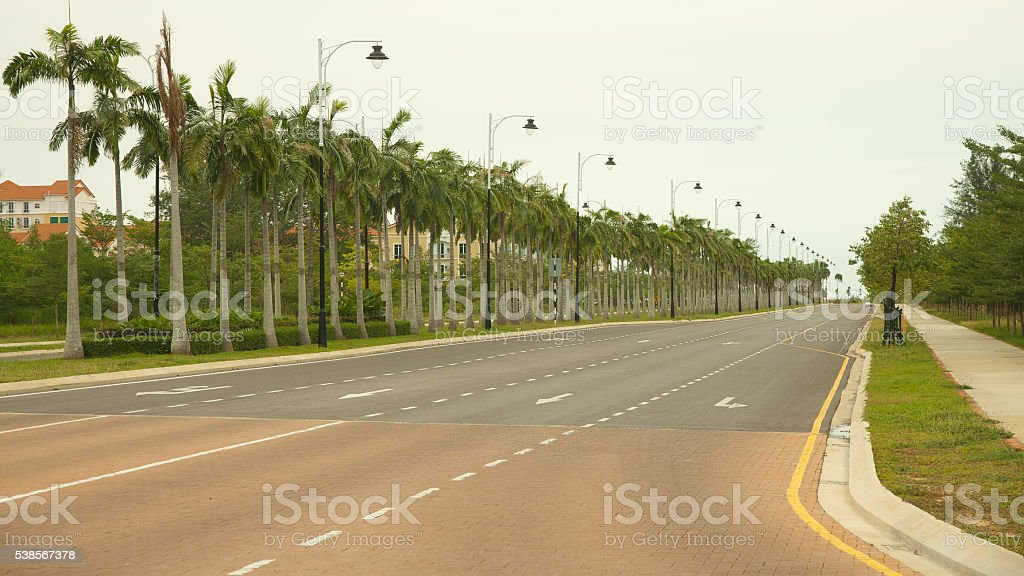 Empty new build Street in Hot Summer weather, Miri Borneo stock photo