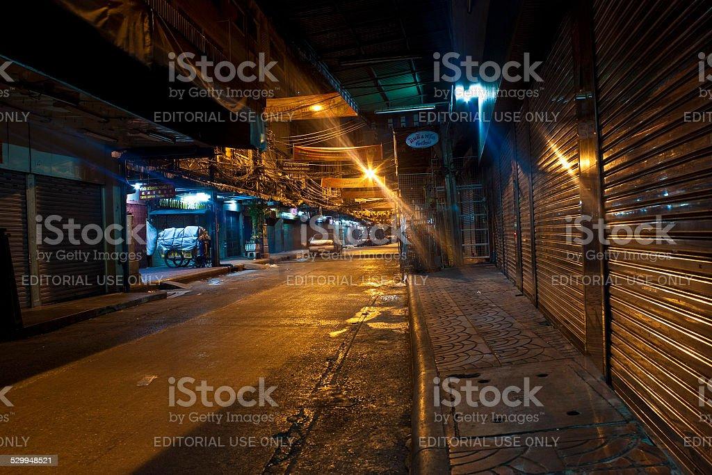 Empty night street stock photo