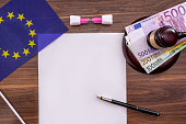 empty notepad with hammer, euro bills and pen