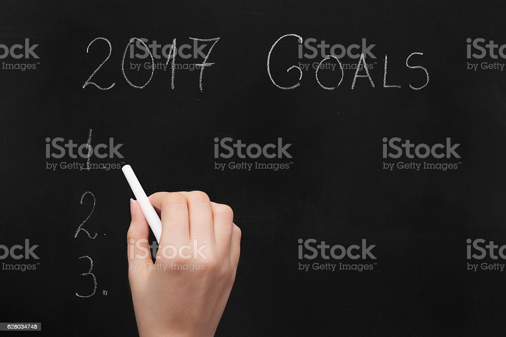Empty numbered blackboard list for business goals for 2017 stock photo