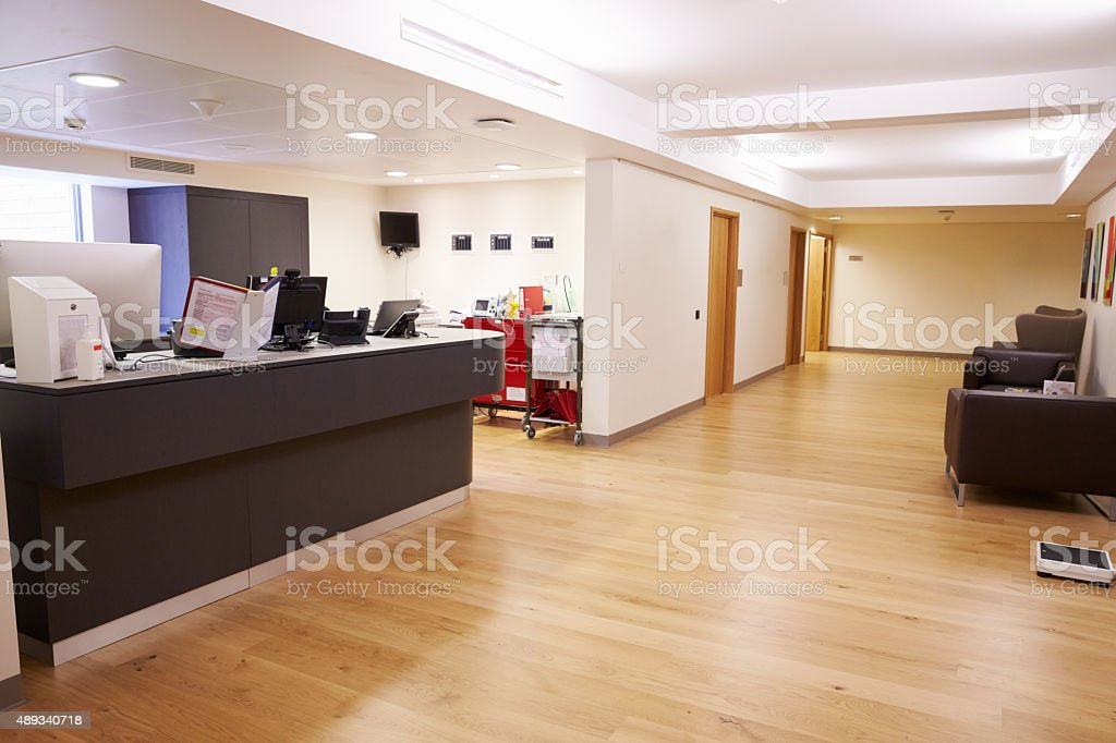 Empty Nurse's Station In Modern Hospital stock photo