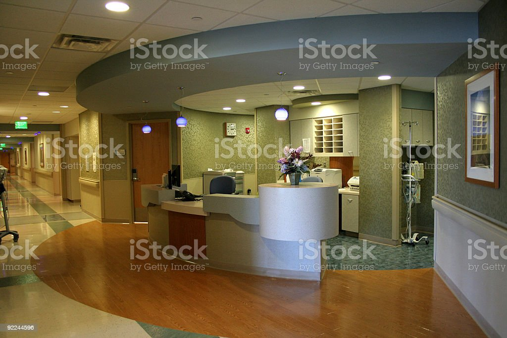 empty nursing station of a hospital stock photo