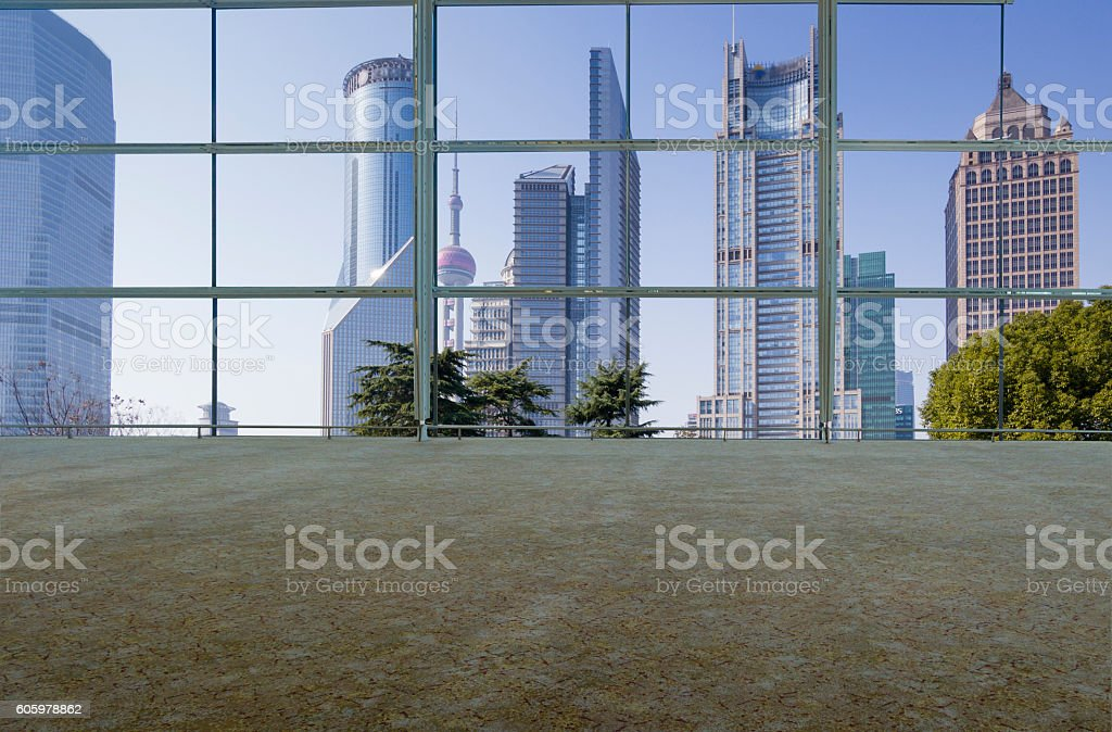 Empty office and high rise building stock photo