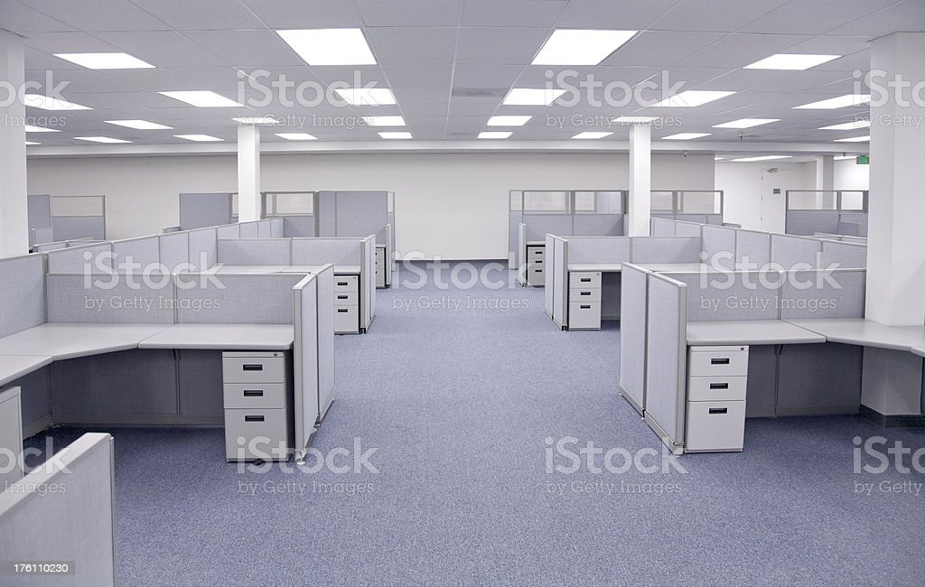 Empty Office Cubicles stock photo