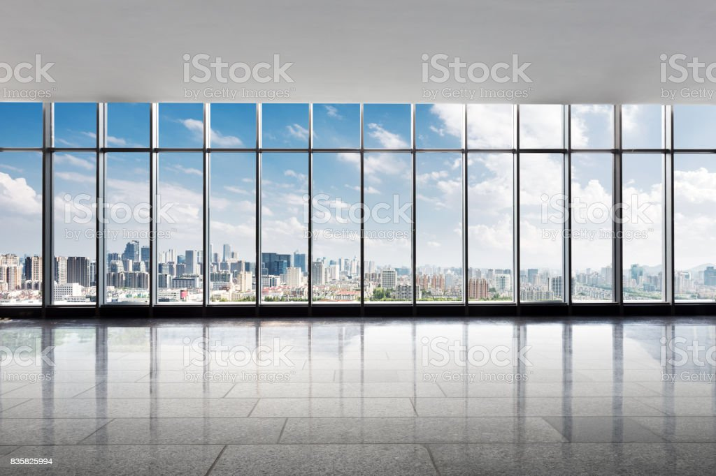 empty office with cityscape of modern city stock photo