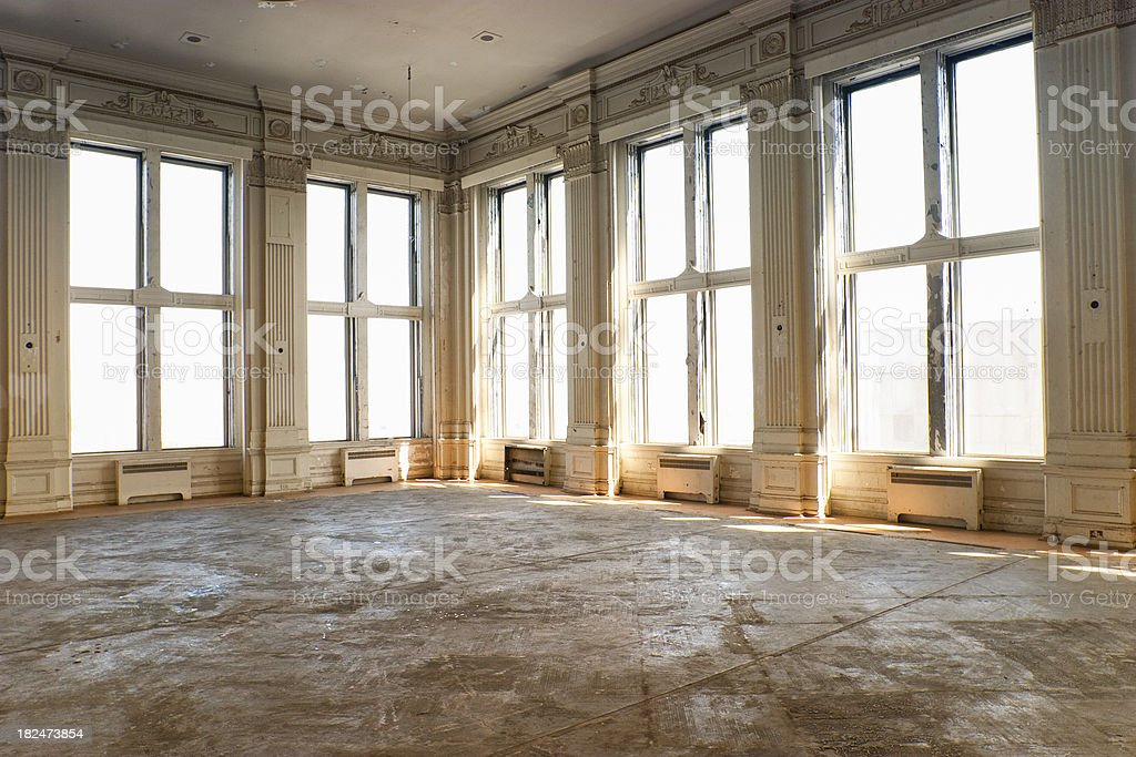 Empty old ballroom stock photo