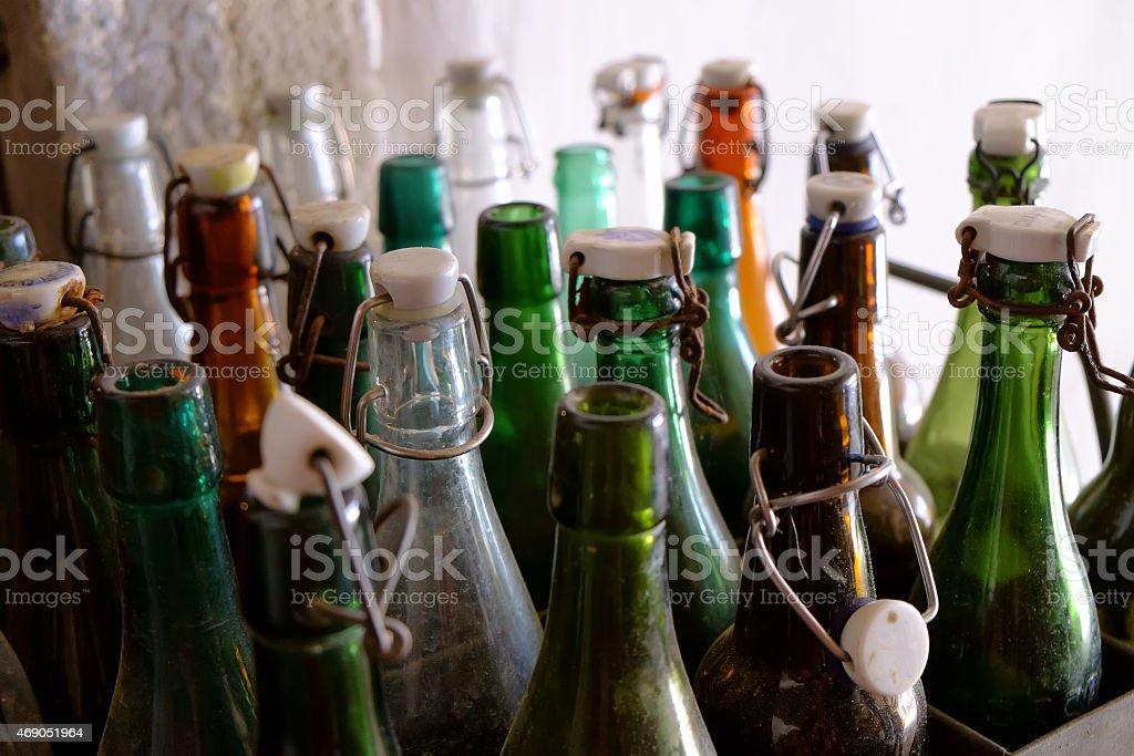 empty old bottles stock photo