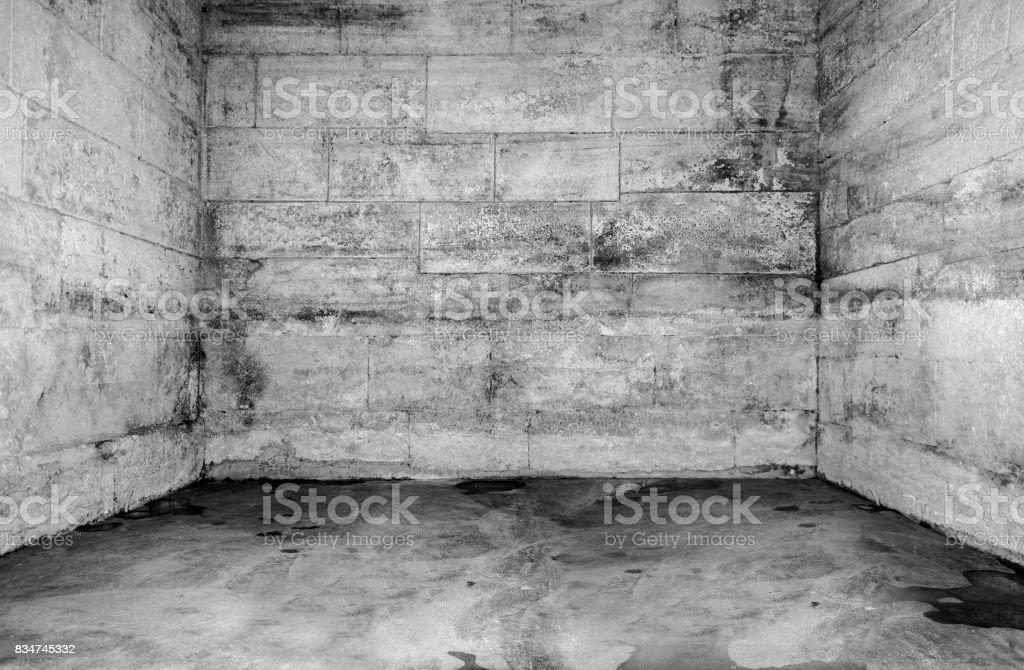 Empty old dilapidated concrete room stock photo