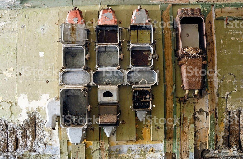 Empty old Power Supply Boxes stock photo