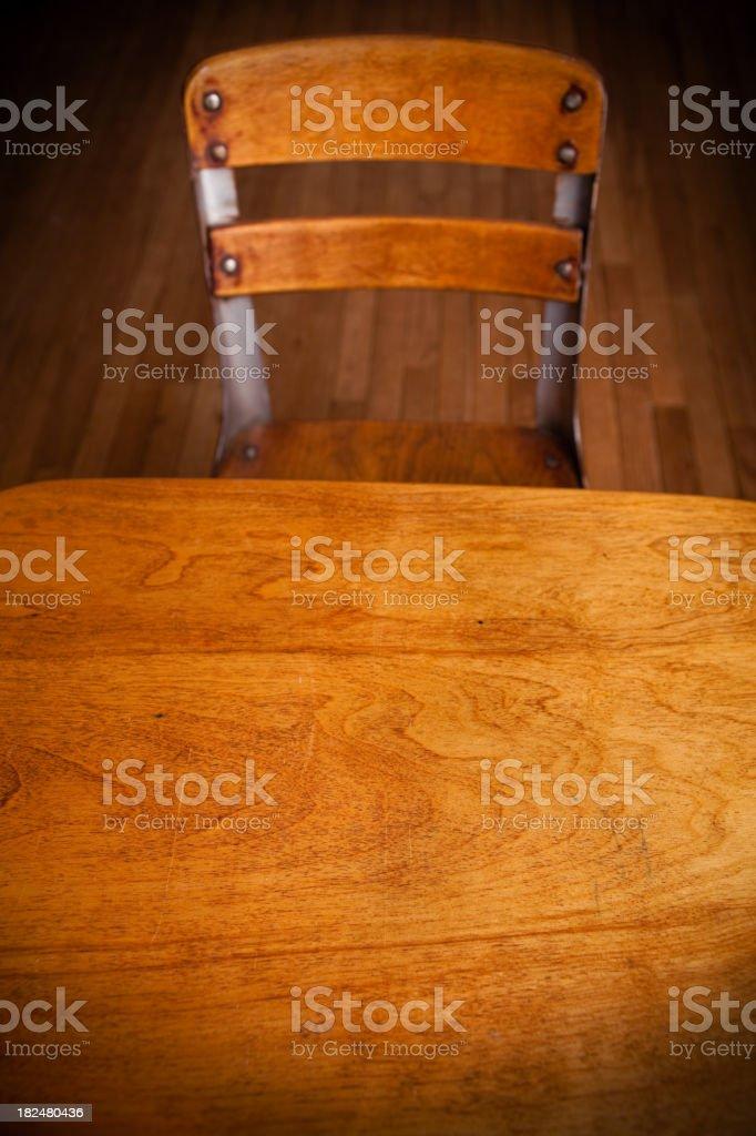 Empty Old School Desk on Hardwood Floor royalty-free stock photo