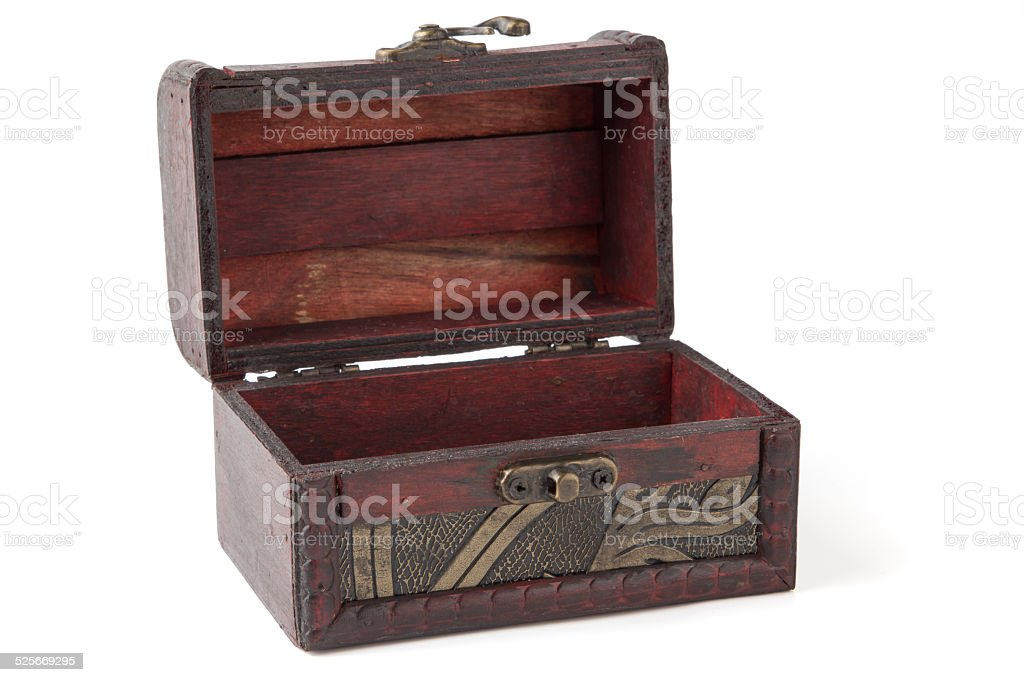Empty old wooden chest stock photo