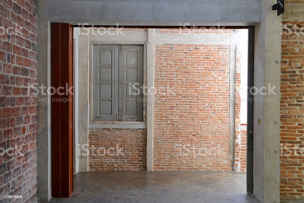 Empty on concrete wall and window stock photo