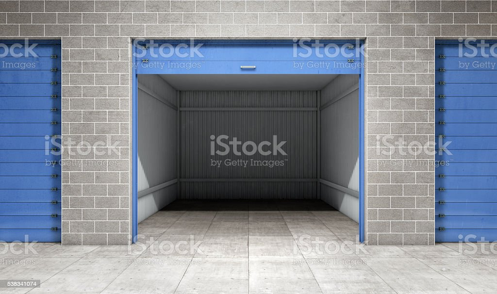 Empty open door self storage unit . 3d rendering stock photo