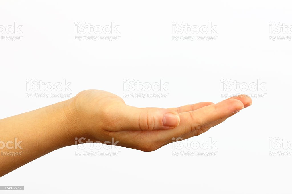 Empty open hand on white background royalty-free stock photo