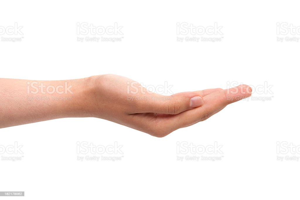 Empty open hand stock photo