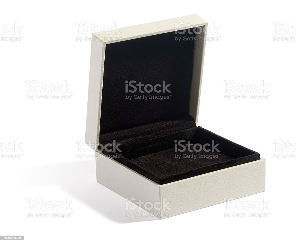 Empty open jewelry box stock photo