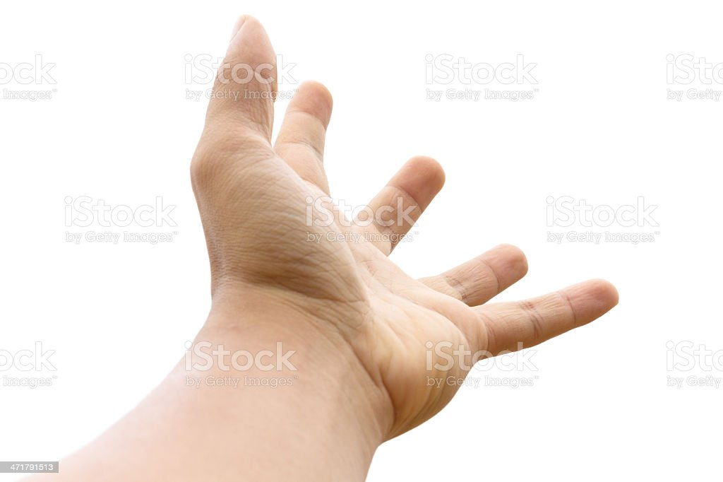 Empty open man hand on white background royalty-free stock photo