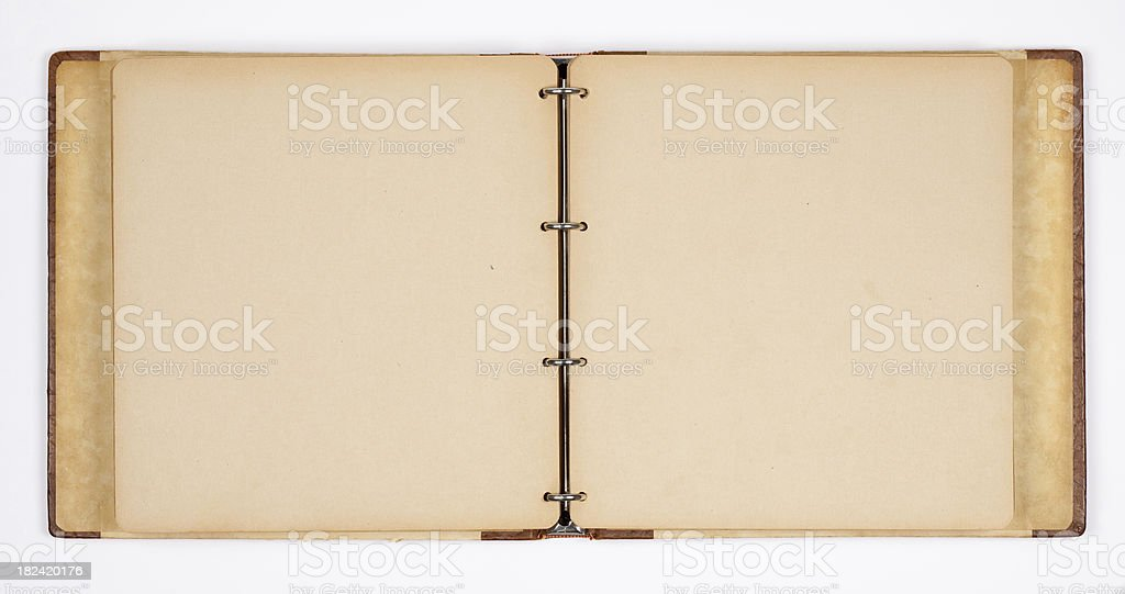 A empty open photo album with insets stock photo