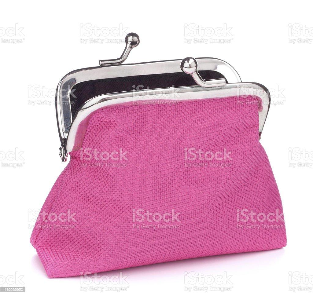 Empty open purse stock photo