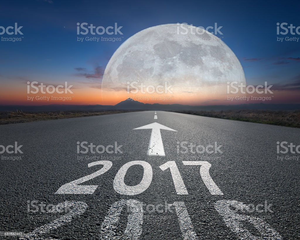 Empty open road to upcoming 2017 at fantasy dawn stock photo