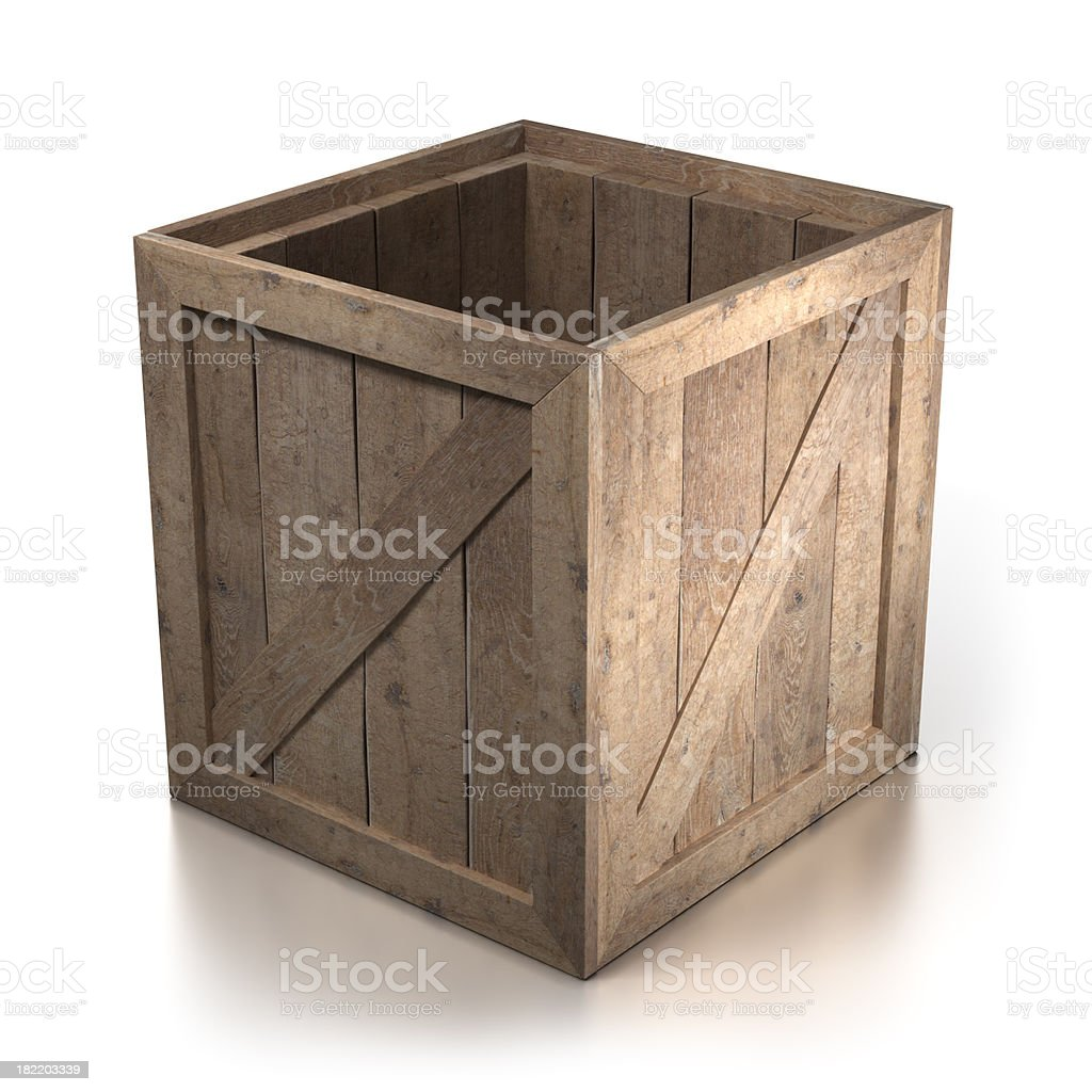 Empty open wooden crate - isolated with Clipping Path royalty-free stock photo
