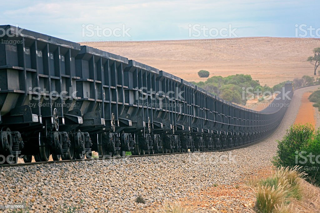 Empty or loaded magnetite iron ore train in hills stock photo