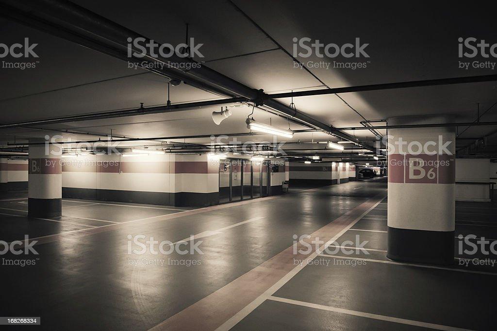 Empty Orange Parking Garage stock photo