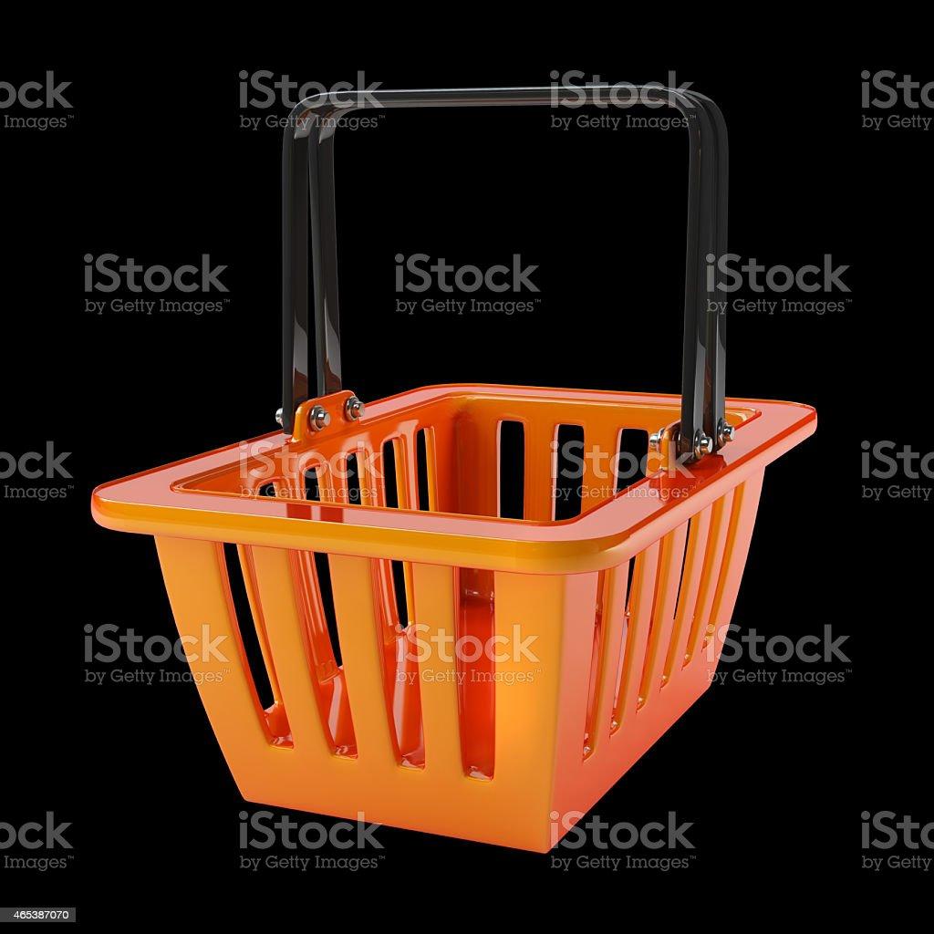 empty orange plastic shopping basket. High resolution 3d render stock photo