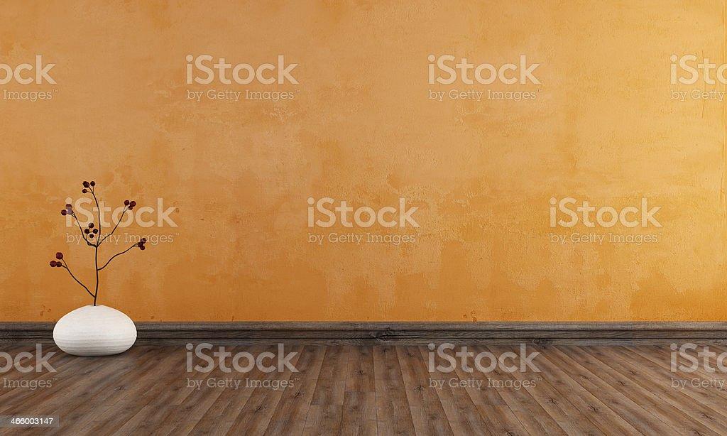 Empty orange room stock photo