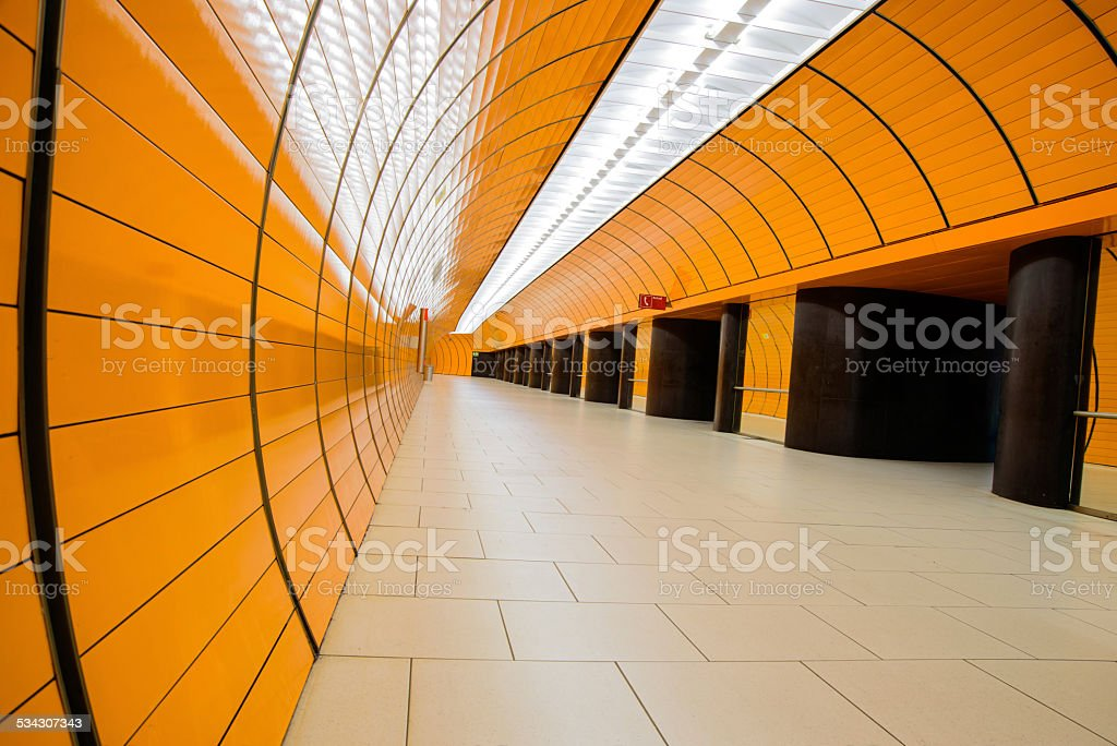 empty orange tunnel in Munich stock photo