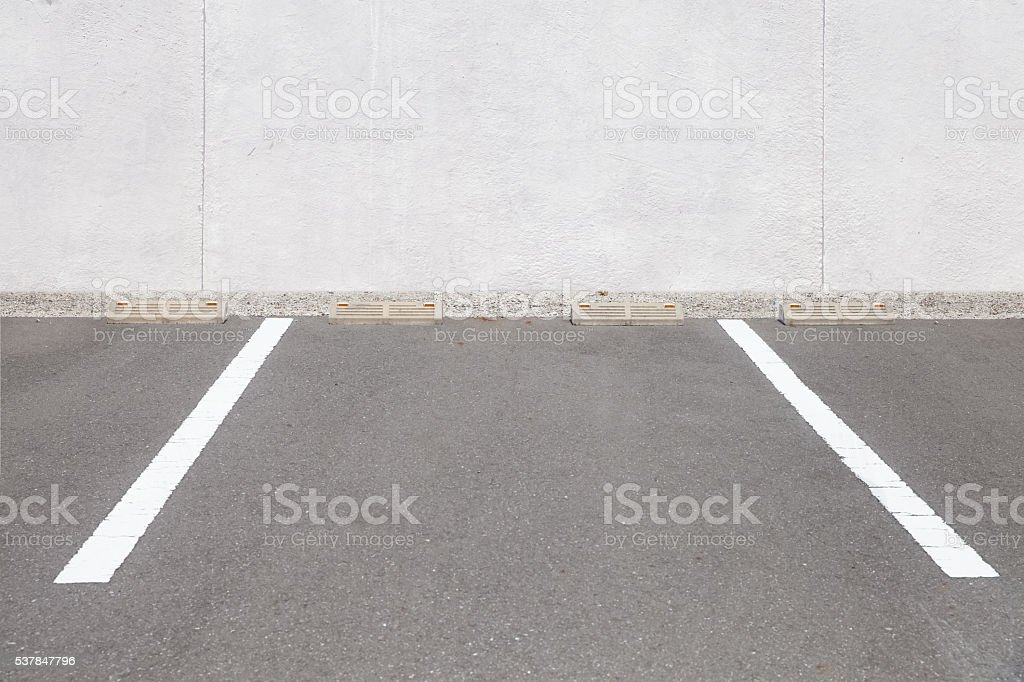 Empty outdoor car parking space , Car parking lot area stock photo